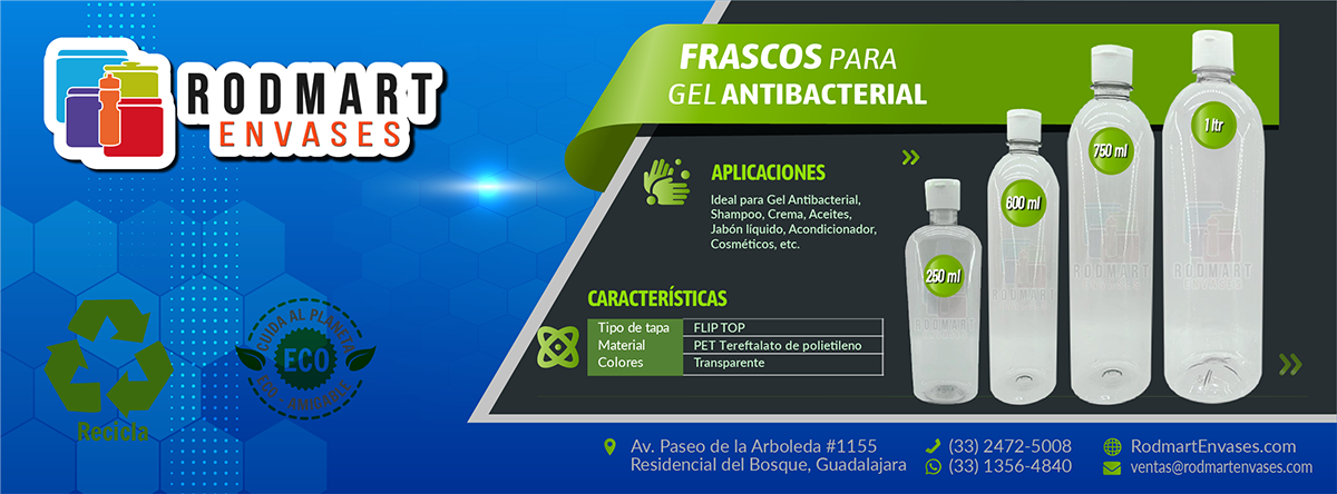 Frasco-Botella 250ml para Gel Antibacterial